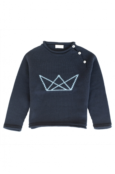 Jersey MA PETITE LOLA  azul, moda infantil, made in Spain