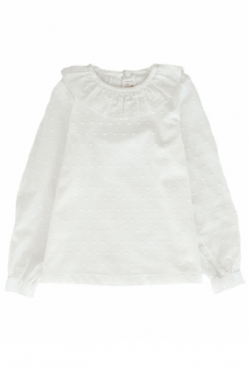 Camisa niña cuello redondo plumeti blanca