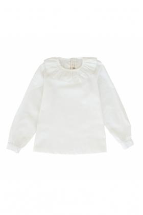 Camisa niña cuello redondo algodón blanca