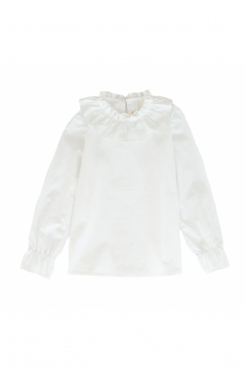 Camisa niña cuello fruncido algodón blanca