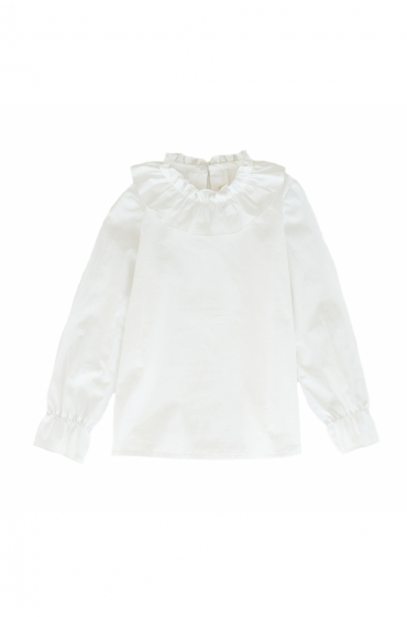 Camisa niña blanca cuello fruncido