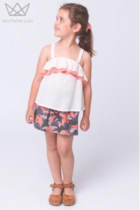 Falda niña Camuflaje coral