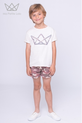 NATURE camiseta NIÑO logo camuflaje ROJO