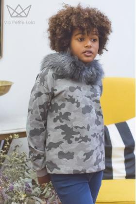 NATURE Sudadera camuflaje GRIS con capucha pelo