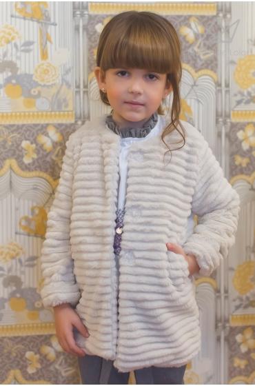 Abrigo de pelo beige Ma Petite Lola