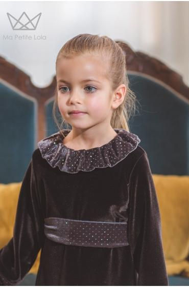 Vestido terciopelo Orange  Ma Petite Lola, moda infantil