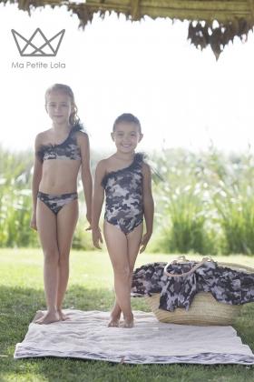 Bañador camuflaje negro niña