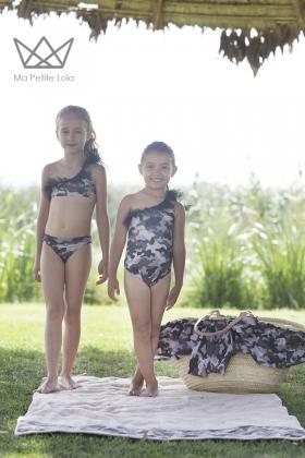 Bikini camuflaje negro niña