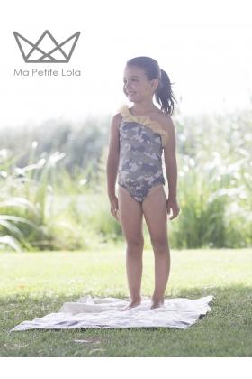 Bañador camuflaje verde/mostaza niña
