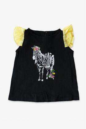 Camiseta Cebra negra niña