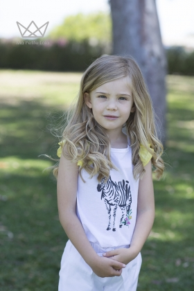 Camiseta Cebra blanca niña