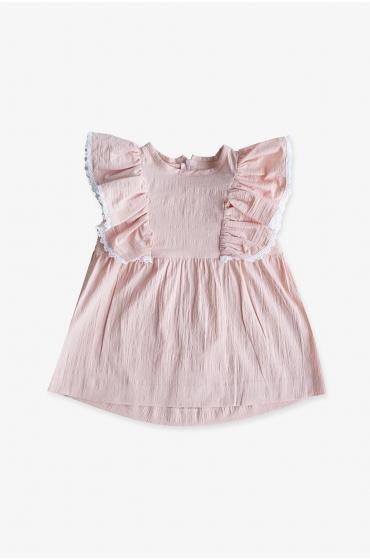 CANICAS Vestido Frisée rosa niña