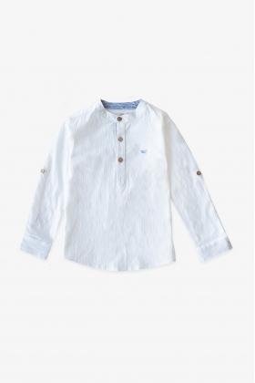 Camisa niño mao blanca puños contraste azul