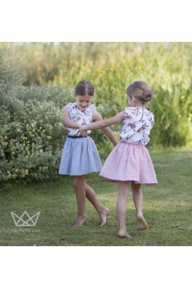 Falda canicas rayas azules niña