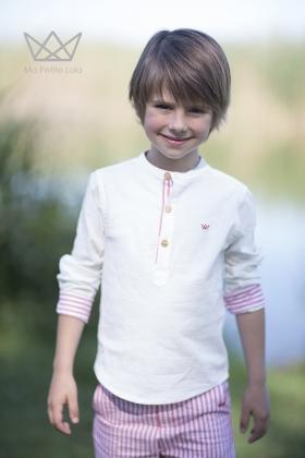 Camisa niño mao blanca puños contraste rosa