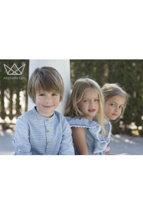 Camisa niño mao Mil Rayas azul