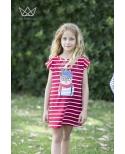 GOMINOLA Vestido Rayas Rojas Gato niña