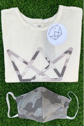 NATURE pack camiseta logo y mascarilla camuflaje GRIS