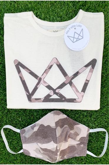 NATURE camiseta y mascarilla camuflaje Negro