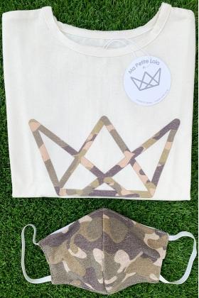 NATURE pack camiseta logo y mascarilla camuflaje VERDE