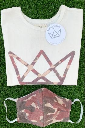 NATURE pack camiseta logo y mascarilla camuflaje ROJO