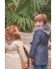 Gabardina denim niña con capucha de pelo camuflaje