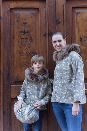 NATURE Sudadera MAMÁ camuflaje VERDE con capucha pelo