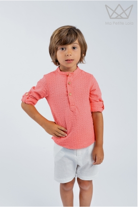 Camisa mao cuadrillé coral