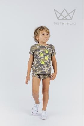 NATURE Camiseta HUELLAS flúor camuflaje VERDE