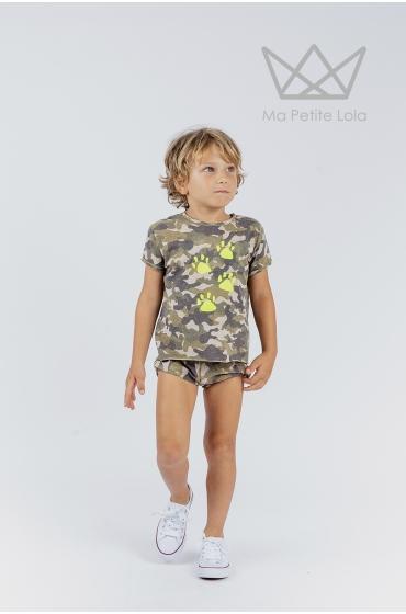 Camiseta niño Nature camuflaje huellas flúor verde