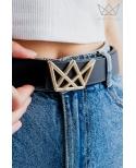 Cinturón mamá NEGRO logo ORO Ma Petite Lola