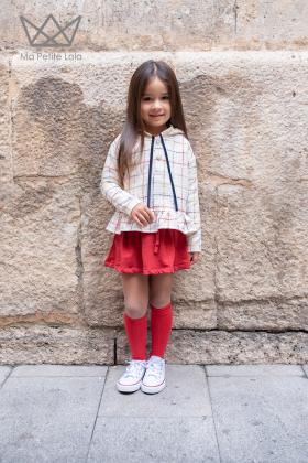 Falda felpa roja
