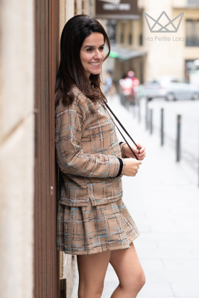 Sudadera mamá Tweed marrón