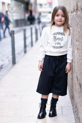 Pantalón culotte punto negro