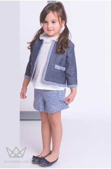 Conjunto niña verano AMALFI short y camisa plumeti Ma Petite Lola moda infantil