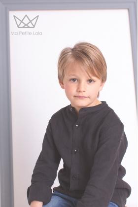 Camisa mao niño lino negro