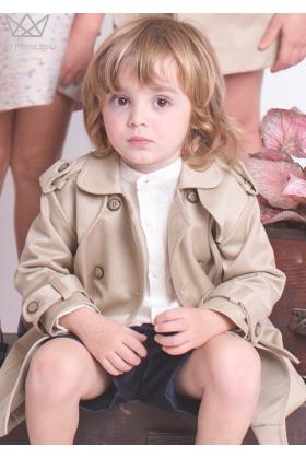 Camisa mao niño lino beige