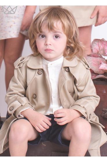 Camisa mao niño lino beige Ma Petite Lola moda infantil