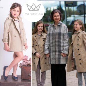 Gabardinas de Leonor y Sofia, gabardinas infantiles, ma petite lola, marca de moda infantil